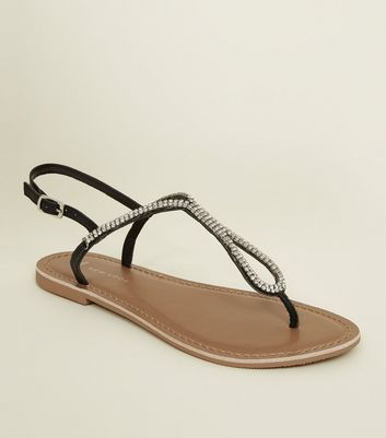 Wide Fit Black Leather Diamanté Flat Sandals