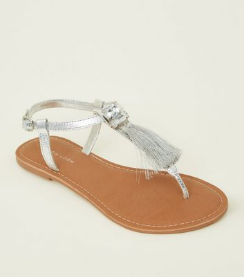 Silver Leather Tassel Trim Sandals