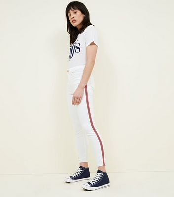 White Side Stripe High Rise Super Skinny Dahlia Jeans