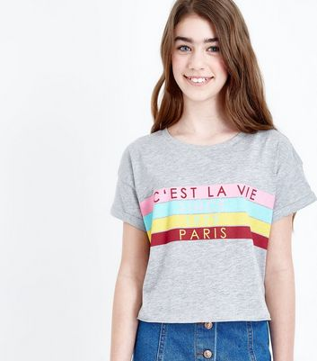 Teens Dark Grey Slogan Colour Block T-Shirt