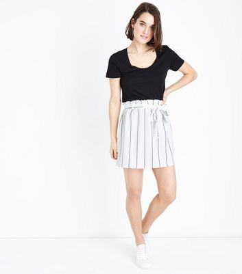 Innocence White Stripe Paperbag Waist Skirt