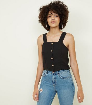 Black Horn Button Front Cropped Cami by New Look
