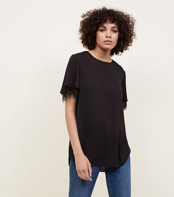 black-layered-lace-sleeve-top by new-look