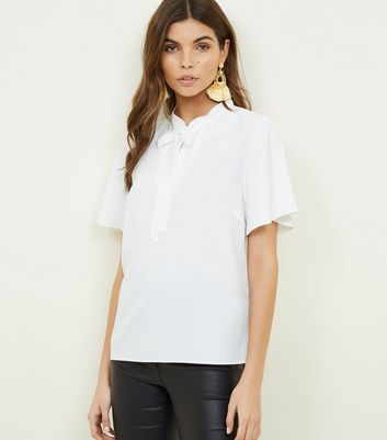 Off White Tie Neck Blouse