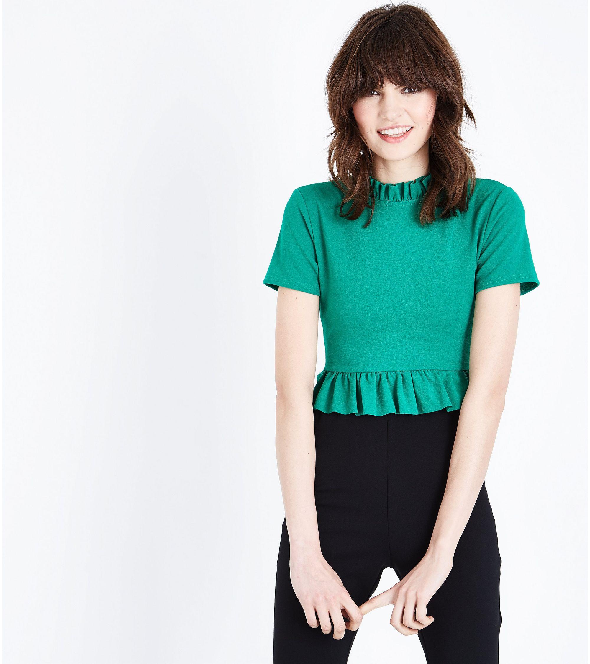 bbad58c46849b ... New Look - Cameo Rose Green Ruffle Trim Crop Top - 1 ...