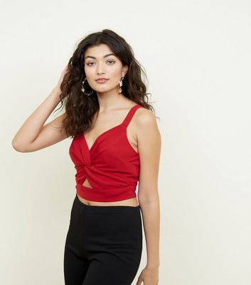 Red Twist Cut Out Front Bralette by New Look