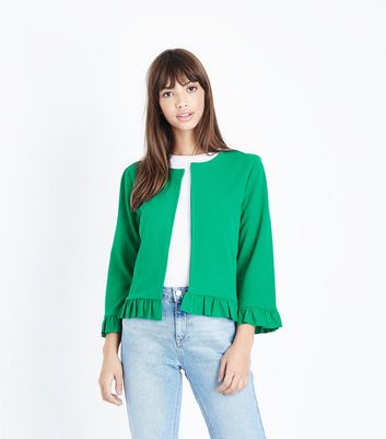 Cameo Rose Green Frill Hem Jacket
