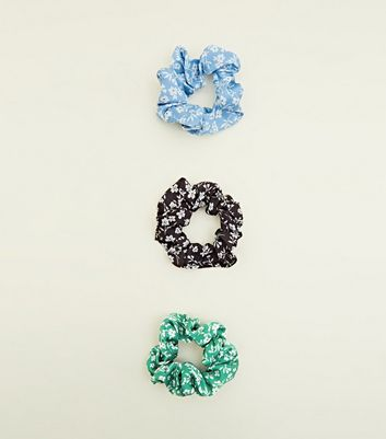 3 Pack Multicoloured Ditsy Floral Scrunchie