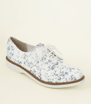 White Floral Leather-Look Lace Up Shoes