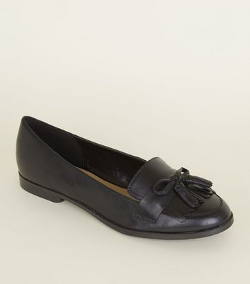 Black Bow Front Leather Loafers