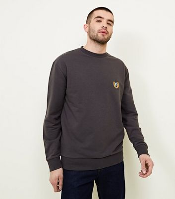 Dark Grey Embroidered Side Badge Sweatshirt