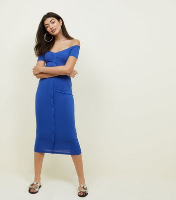 Blue Ribbed Button Through Bardot Neck Dress