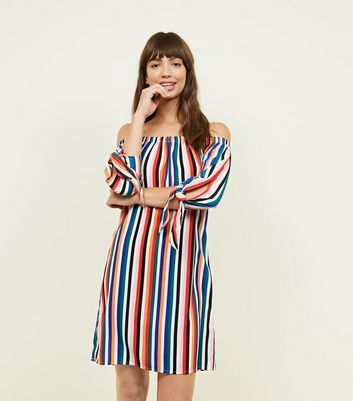 ... Rainbow Stripe Tie Sleeve Bardot Dress