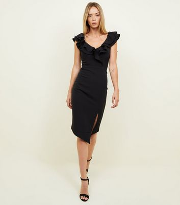 Black Frill Trim Sweetheart Neck Bodycon Dress
