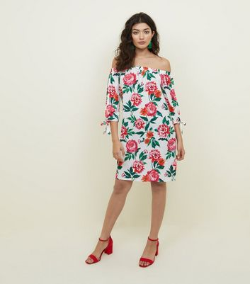Off White Floral Tie Sleeve Bardot Dress