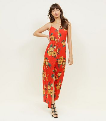 Red Floral Button Up Maxi Dress