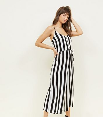 Black Stripe Button Front Culotte Jumpsuit