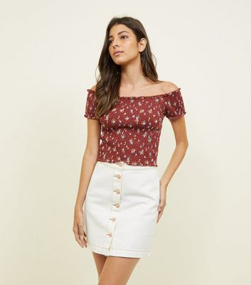 Rust Ditsy Floral Shirred Bardot Top by New Look
