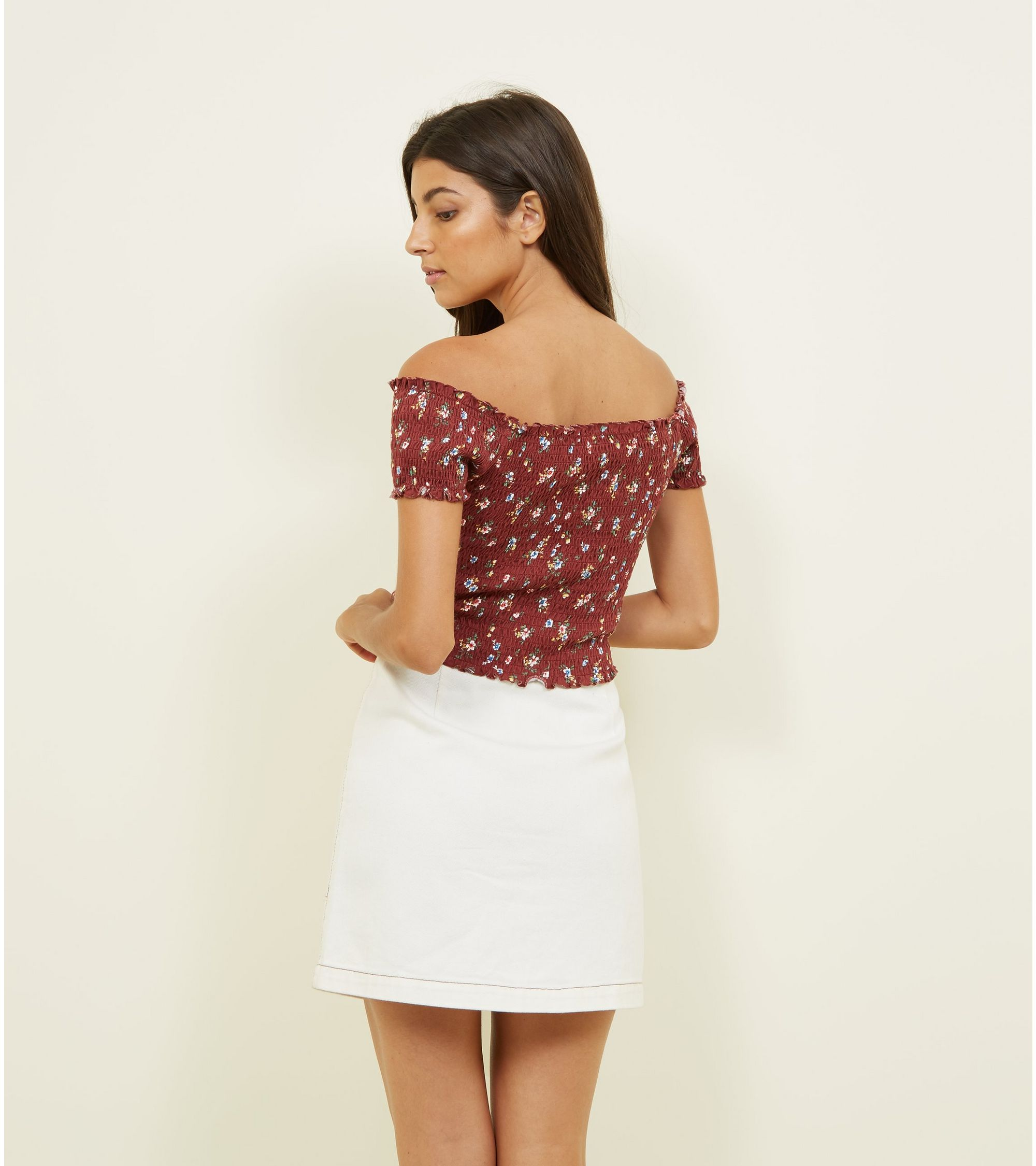 876430f3fe93c8 New Look Rust Ditsy Floral Shirred Bardot Top at £6.99 | love the brands