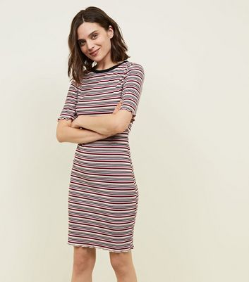 Red Stripe Ribbed 1/2 Sleeve Bodycon Dress