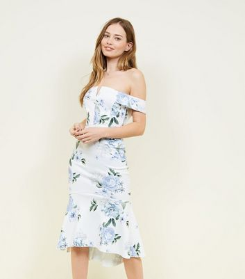 White Floral Dip Hem Bardot Dress