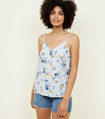 Light Grey Floral Jacquard Button Front Cami