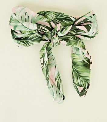 Pink and Green Tropical Bow Wrap Headband