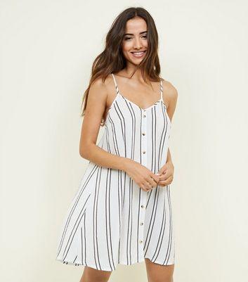 White Stripe Swing Beach Dress by New Look