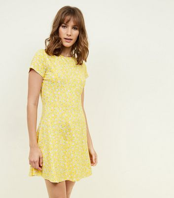 Yellow Ditsy Floral Cap Sleeve Swing Dress
