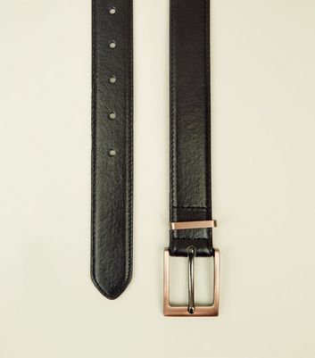 Black and Rose Gold Leather-Look Belt