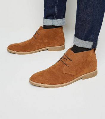 Brown Faux Suede Desert Boots