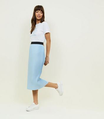 Pale Blue Pleated Midi Skirt