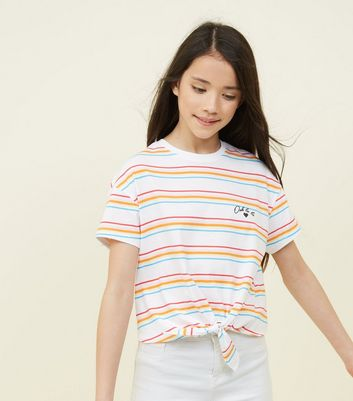 Teens Multi Stripe Ooh La La Slogan T-Shirt