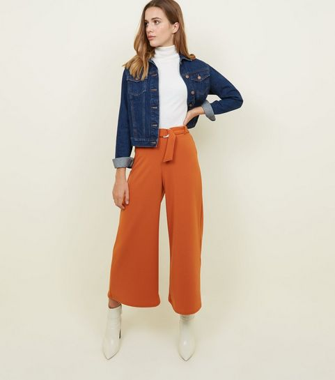 Home; Cotton Bee Apparel Pallazo Midi Cullote Pants Cream. Rust D Ring Belt Cropped Trousers