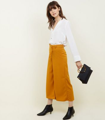 Mustard D-Ring Belt Cropped Trousers