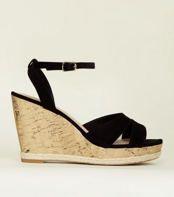 Black Comfort Suedette Two Part Cork Wedges