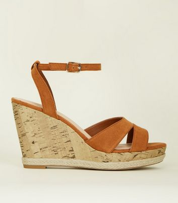 Tan Comfort Suedette Two Part Cork Wedges