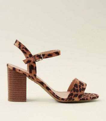 Wide Fit Stone Leopard Print Wooden Block Heels