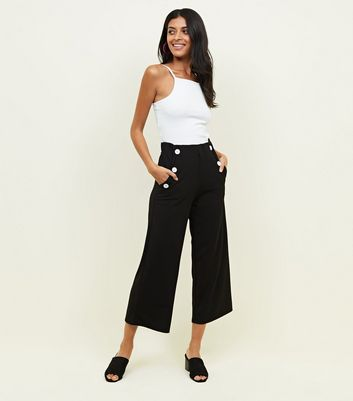 Black Button Scuba Crop Trousers by New Look