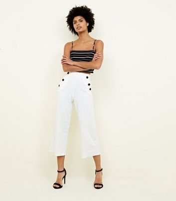 White Scuba Button Side Cropped Trousers