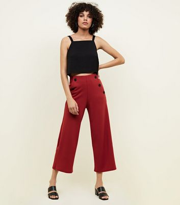 Red Scuba Button Side Cropped Trousers