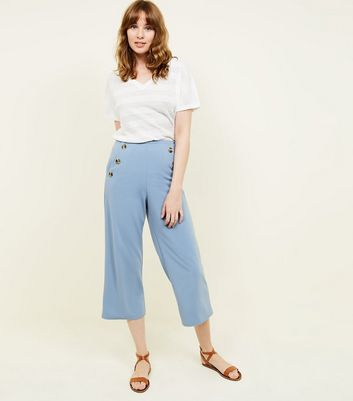 Pale Blue Scuba Button Side Cropped Trousers