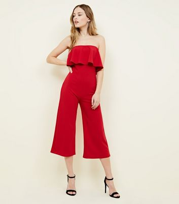 Pink Vanilla Red Frill Bandeau Culotte Jumpsuit by New Look