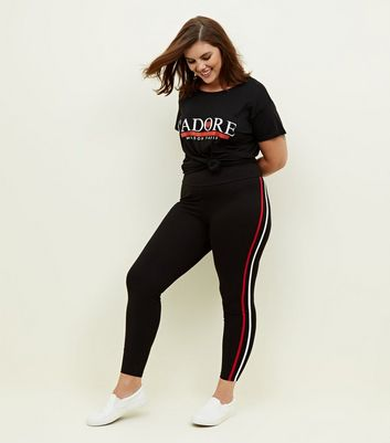 Curves Black Double Side Stripe Leggings