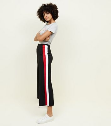 Tall Black Stripe Side Ribbed Culottes