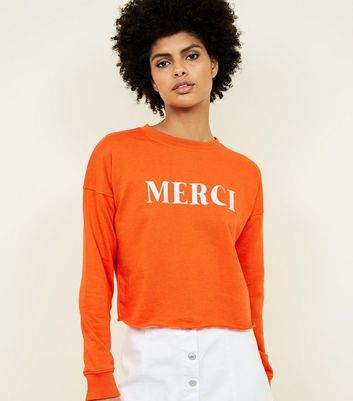 Bright Orange Merci Slogan Cropped Sweatshirt