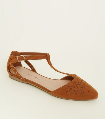 Girls Tan Suedette Laser Cut T-Bar Pumps