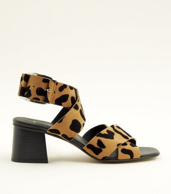 Tan Premium Suede Leopard Print Cross Strap Sandals