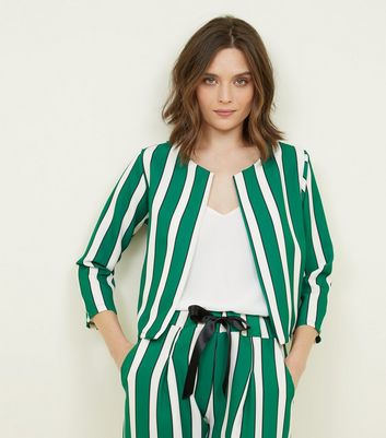 Cameo Rose Green Stripe Blazer