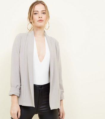 Cameo Rose Grey Ribbed Jacket